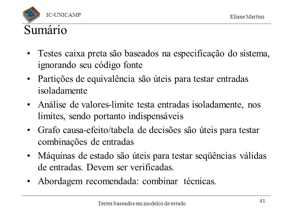 IC-UNICAMP Eliane Martins Testes baseados em modelos de estado 40 Outros modelos Máquinas indeterministas Máquinas comunicantes Máquinas para tempo re