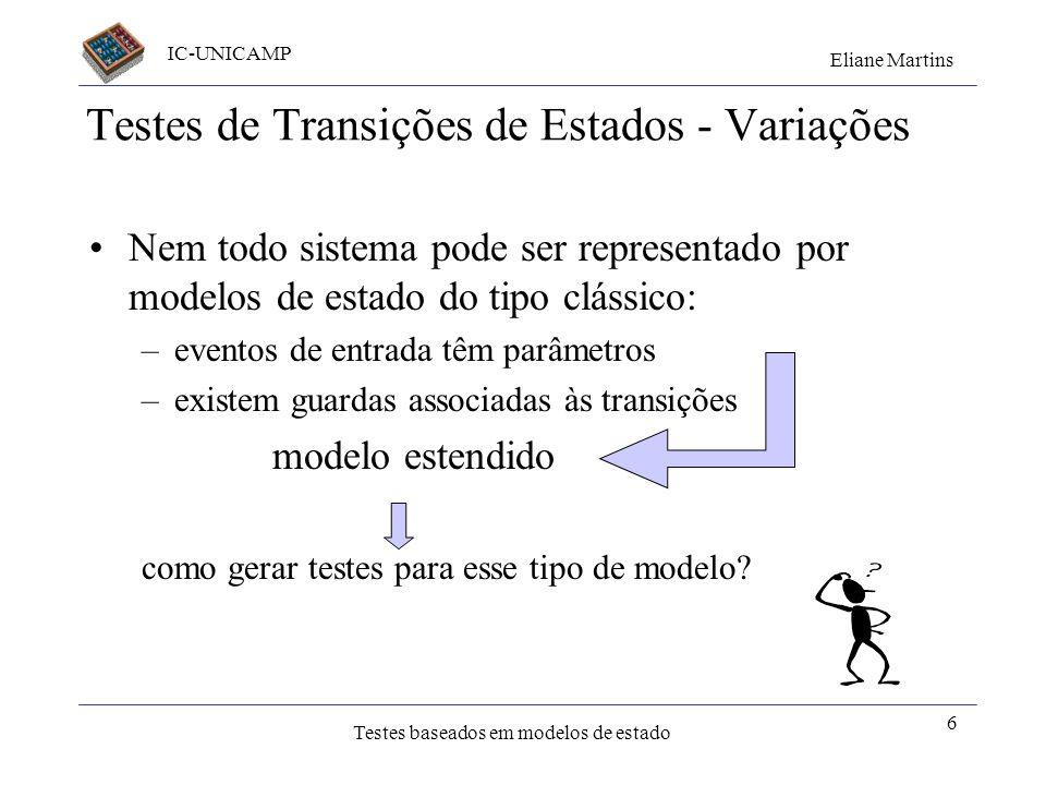 IC-UNICAMP Eliane Martins Testes baseados em modelos de estado 5 Testes caixa preta Especificação: Requisitos Projeto Independente de notação Partição