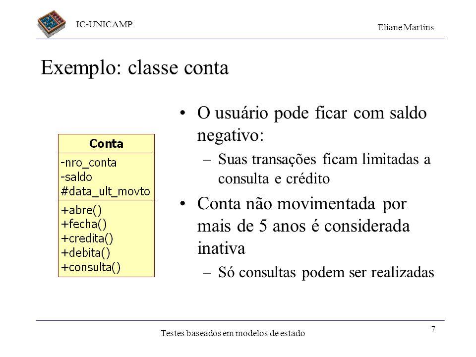 IC-UNICAMP Eliane Martins Testes baseados em modelos de estado 6 Testes de Transições de Estados - Variações Nem todo sistema pode ser representado po