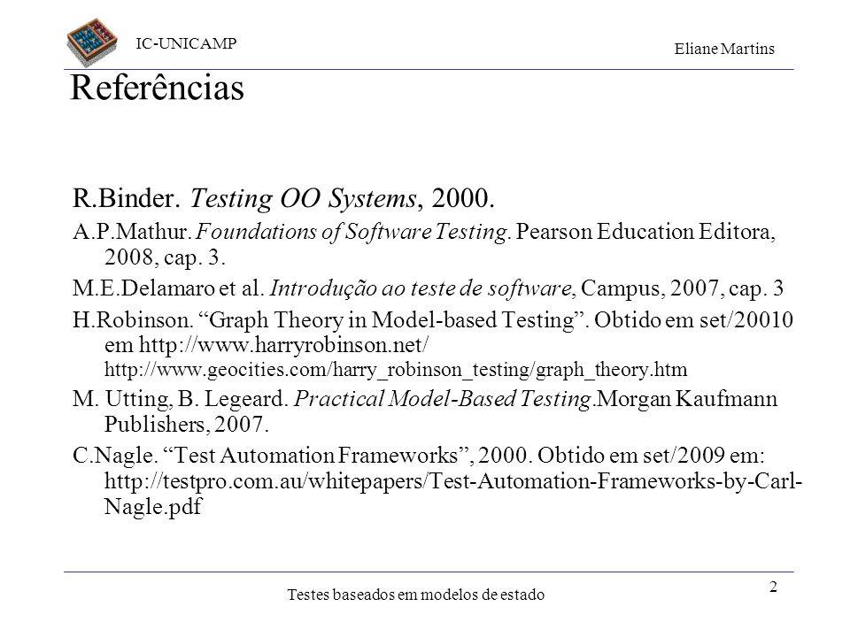 IC-UNICAMP Eliane Martins Testes baseados em modelos de estado 2 Referências R.Binder. Testing OO Systems, 2000. A.P.Mathur. Foundations of Software T