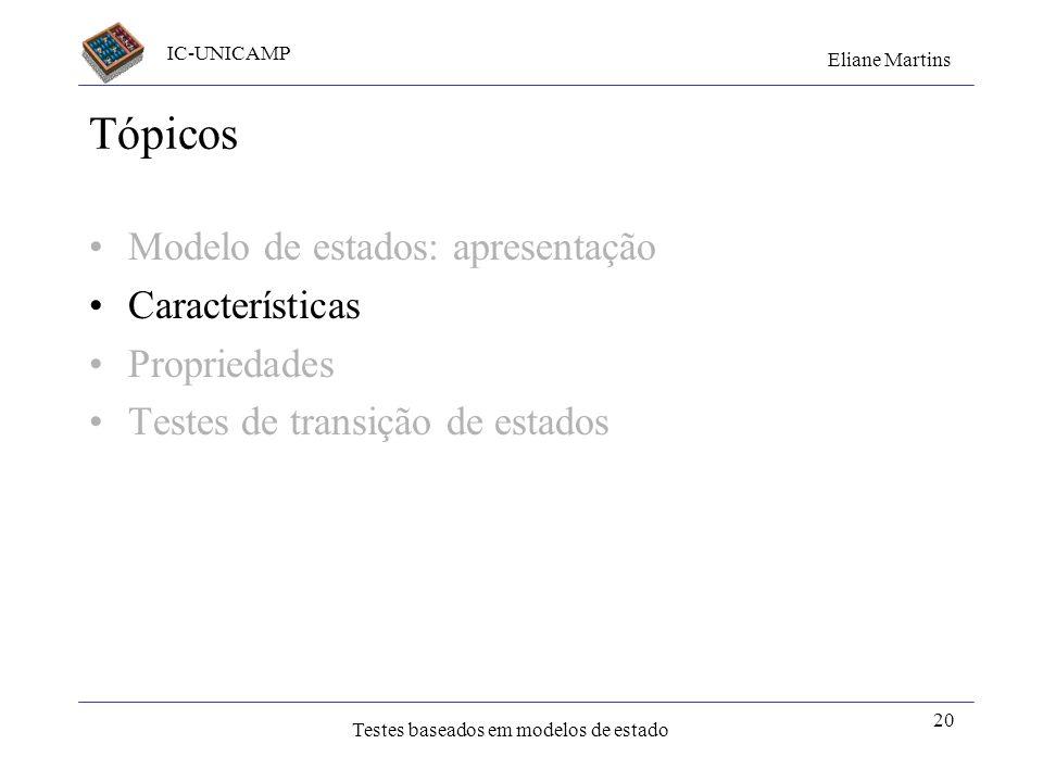 IC-UNICAMP Eliane Martins Testes baseados em modelos de estado 20 Tópicos Modelo de estados: apresentação Características Propriedades Testes de trans