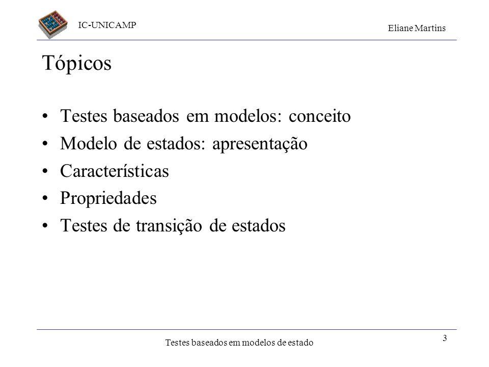IC-UNICAMP Eliane Martins Testes baseados em modelos de estado 3 Tópicos Testes baseados em modelos: conceito Modelo de estados: apresentação Caracter