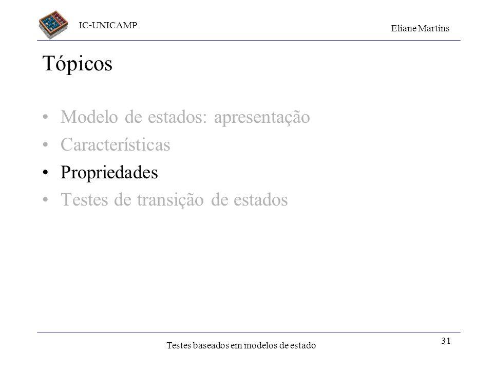 IC-UNICAMP Eliane Martins Testes baseados em modelos de estado 31 Tópicos Modelo de estados: apresentação Características Propriedades Testes de trans