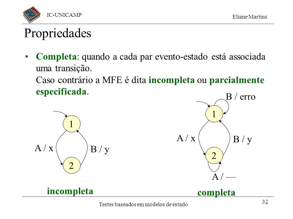 IC-UNICAMP Eliane Martins Testes baseados em modelos de estado 32 Propriedades Completa: quando a cada par evento-estado está associada uma transição.