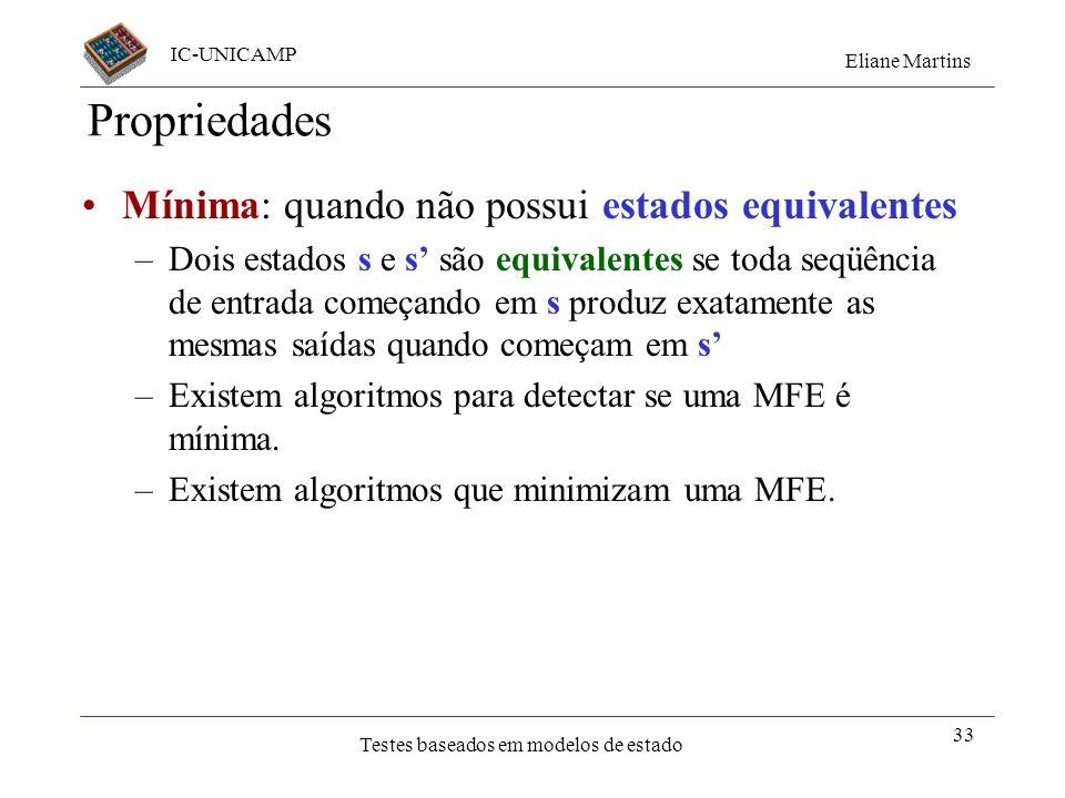 IC-UNICAMP Eliane Martins Testes baseados em modelos de estado 33 Propriedades Mínima: quando não possui estados equivalentes –Dois estados s e s são
