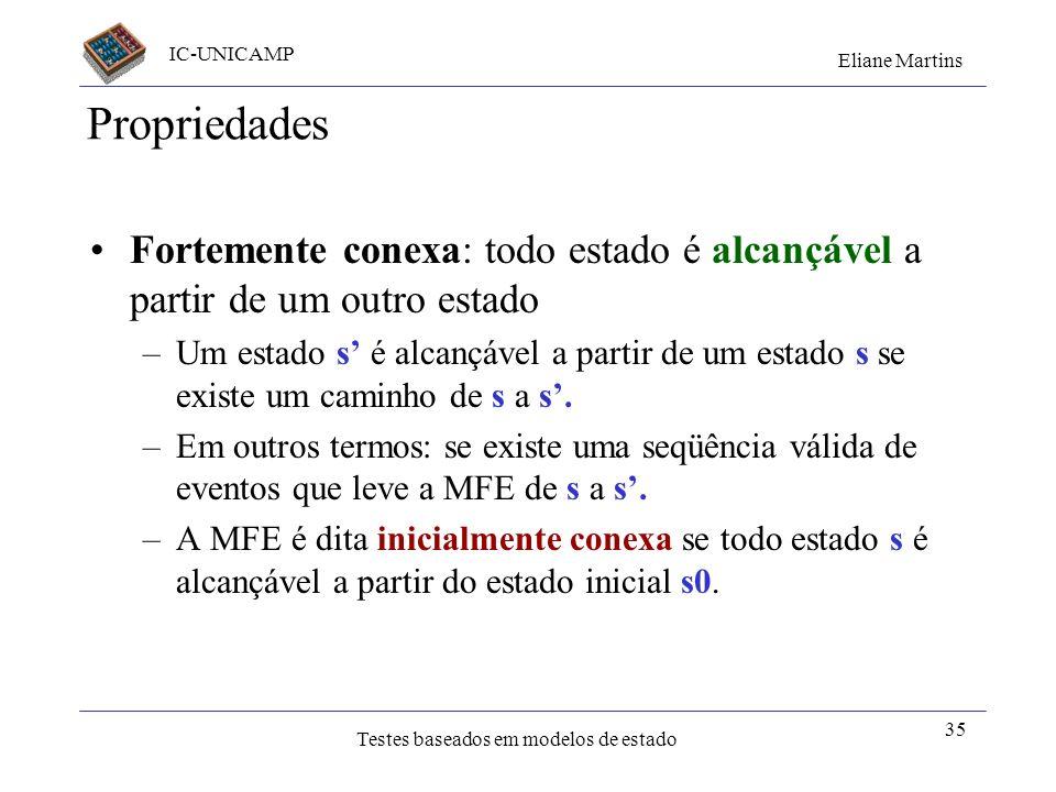 IC-UNICAMP Eliane Martins Testes baseados em modelos de estado 35 Propriedades Fortemente conexa: todo estado é alcançável a partir de um outro estado