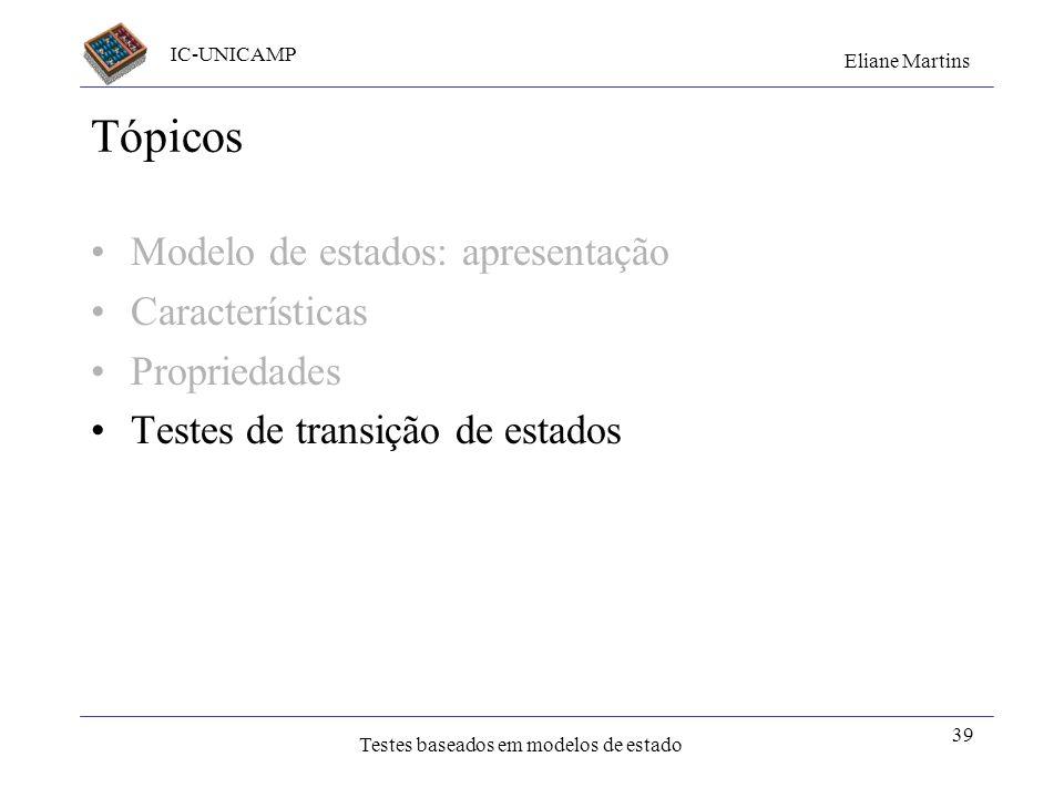 IC-UNICAMP Eliane Martins Testes baseados em modelos de estado 39 Tópicos Modelo de estados: apresentação Características Propriedades Testes de trans