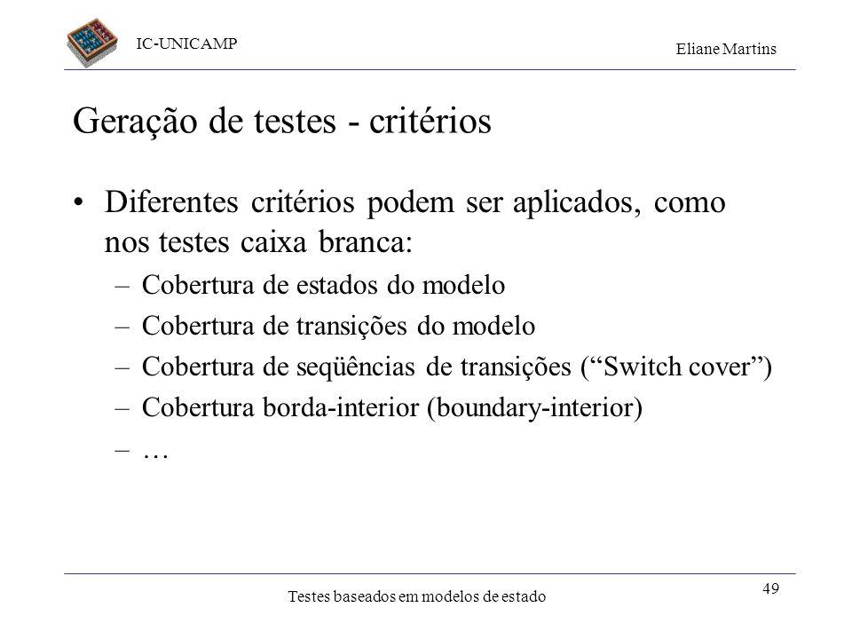 IC-UNICAMP Eliane Martins Testes baseados em modelos de estado 49 Geração de testes - critérios Diferentes critérios podem ser aplicados, como nos tes