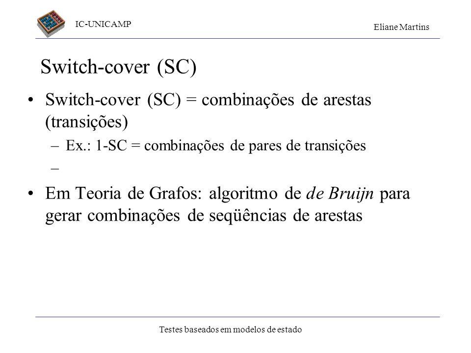 IC-UNICAMP Eliane Martins Testes baseados em modelos de estado Switch-cover (SC) Switch-cover (SC) = combinações de arestas (transições) –Ex.: 1-SC =