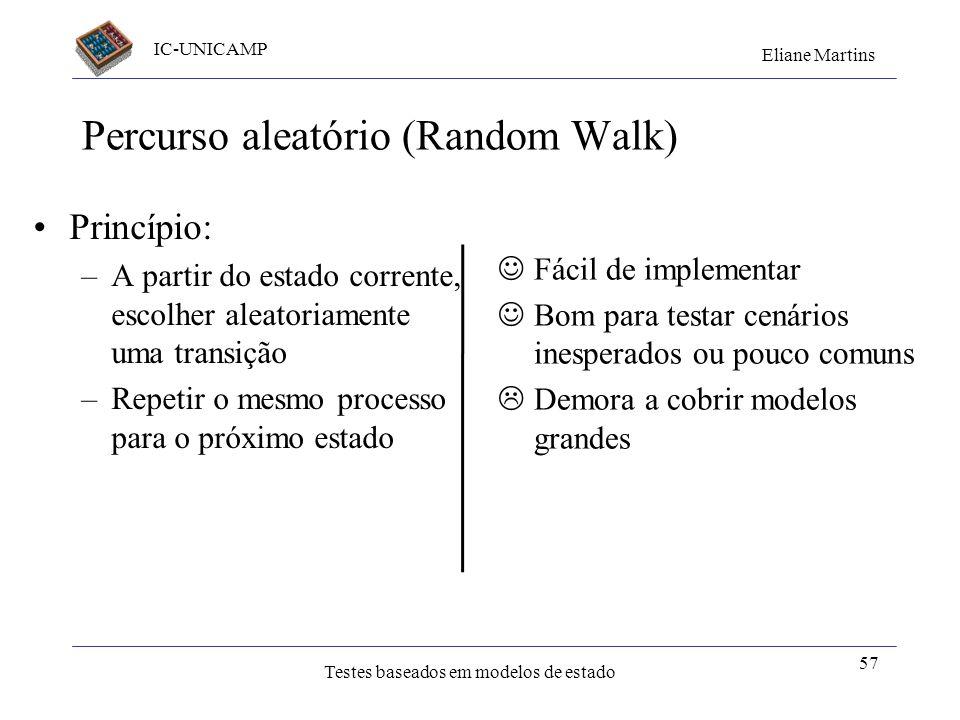 IC-UNICAMP Eliane Martins Testes baseados em modelos de estado Percurso aleatório (Random Walk) Princípio: –A partir do estado corrente, escolher alea
