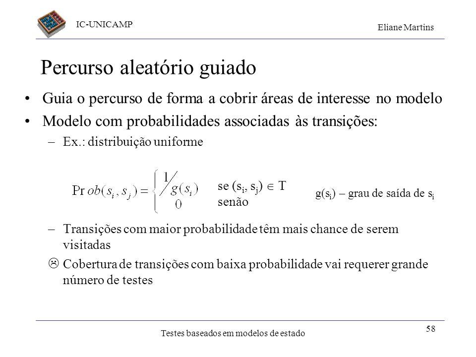 IC-UNICAMP Eliane Martins Testes baseados em modelos de estado Percurso aleatório guiado Guia o percurso de forma a cobrir áreas de interesse no model