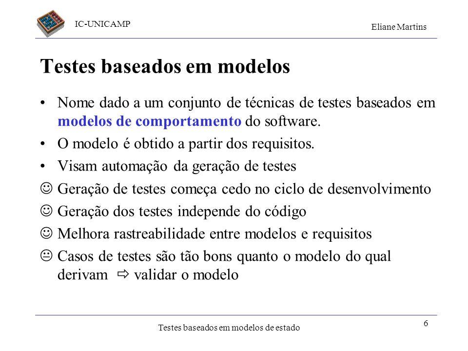 IC-UNICAMP Eliane Martins Testes baseados em modelos de estado 6 Testes baseados em modelos Nome dado a um conjunto de técnicas de testes baseados em