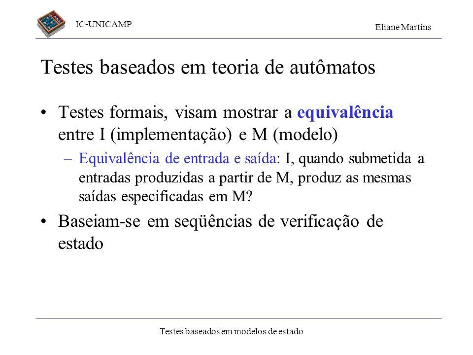IC-UNICAMP Eliane Martins Testes baseados em modelos de estado Testes baseados em teoria de autômatos Testes formais, visam mostrar a equivalência ent