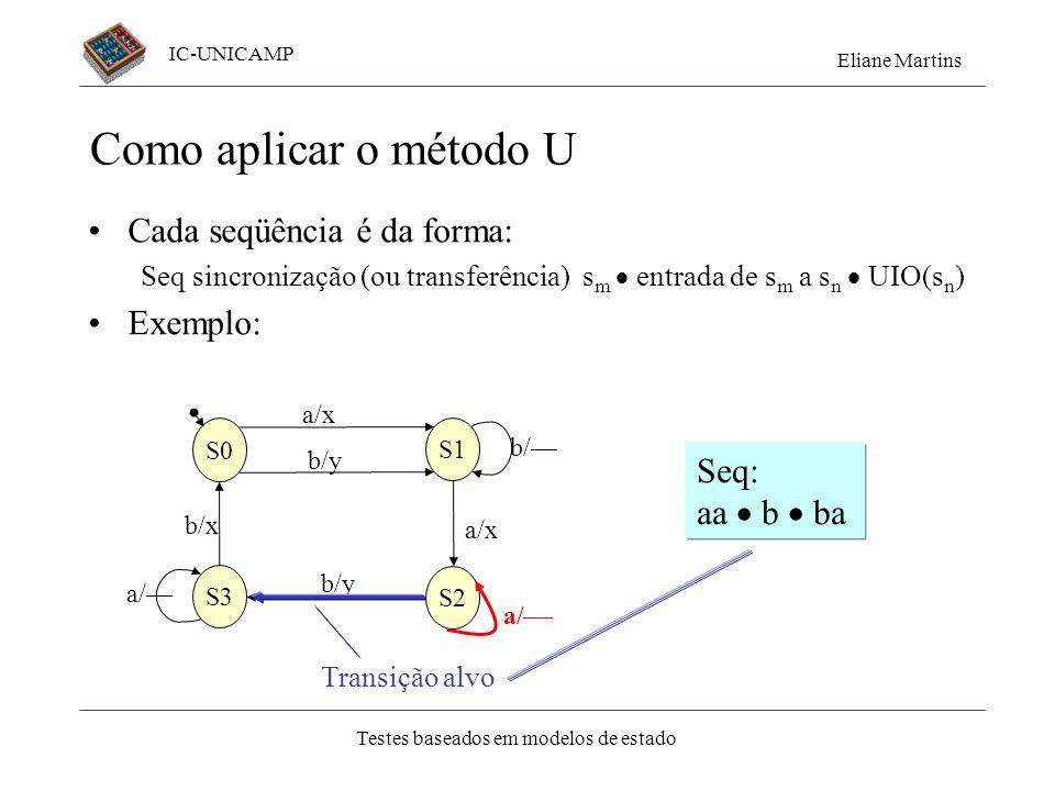 IC-UNICAMP Eliane Martins Testes baseados em modelos de estado Como aplicar o método U Cada seqüência é da forma: Seq sincronização (ou transferência)
