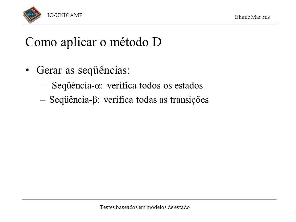 IC-UNICAMP Eliane Martins Testes baseados em modelos de estado Como aplicar o método D Gerar as seqüências: – Seqüência- : verifica todos os estados –