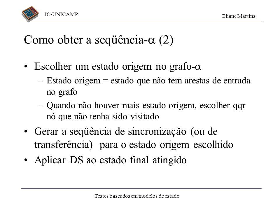 IC-UNICAMP Eliane Martins Testes baseados em modelos de estado Como obter a seqüência- (2) Escolher um estado origem no grafo- –Estado origem = estado