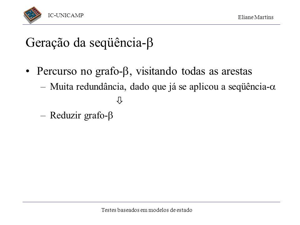 IC-UNICAMP Eliane Martins Testes baseados em modelos de estado Geração da seqüência- Percurso no grafo-, visitando todas as arestas –Muita redundância