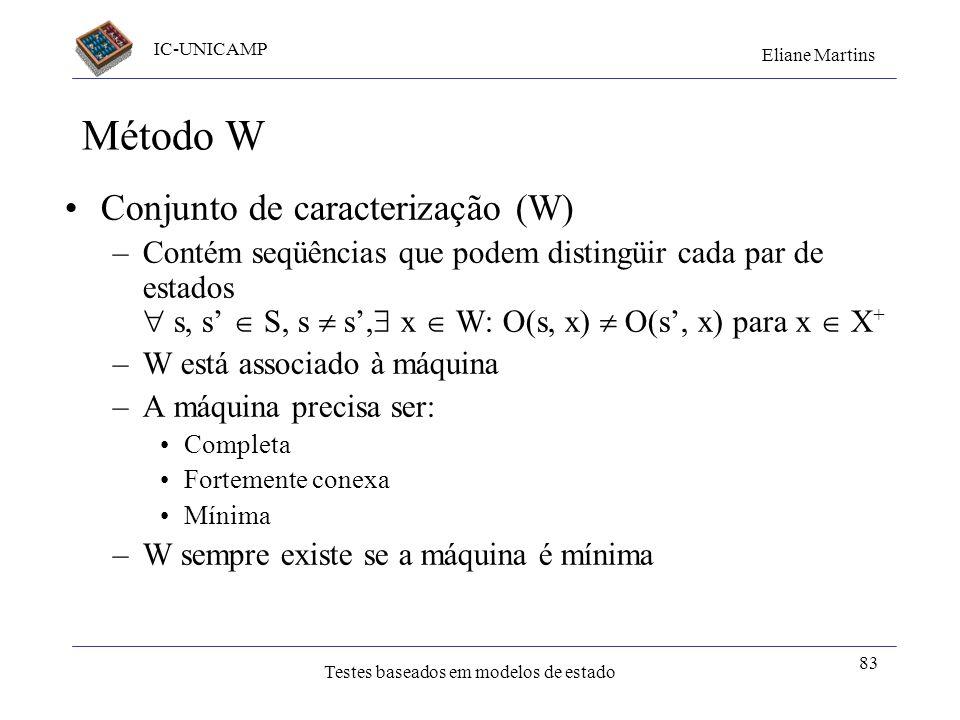 IC-UNICAMP Eliane Martins Testes baseados em modelos de estado 83 Método W Conjunto de caracterização (W) –Contém seqüências que podem distingüir cada