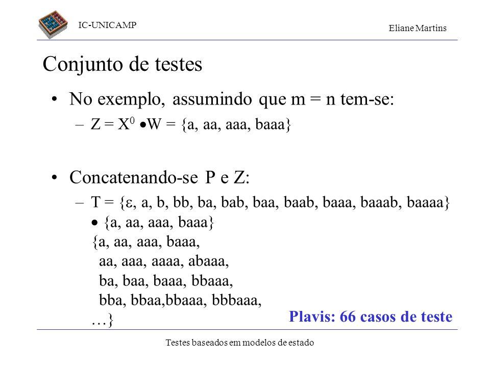 IC-UNICAMP Eliane Martins Testes baseados em modelos de estado Conjunto de testes No exemplo, assumindo que m = n tem-se: –Z = X 0 W = {a, aa, aaa, ba