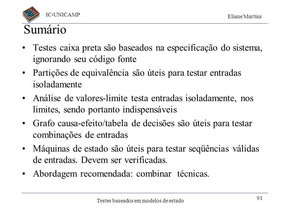 IC-UNICAMP Eliane Martins Testes baseados em modelos de estado 91 Sumário Testes caixa preta são baseados na especificação do sistema, ignorando seu c