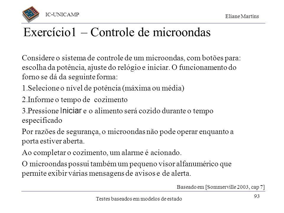 IC-UNICAMP Eliane Martins Testes baseados em modelos de estado 93 Exercício1 – Controle de microondas Considere o sistema de controle de um microondas