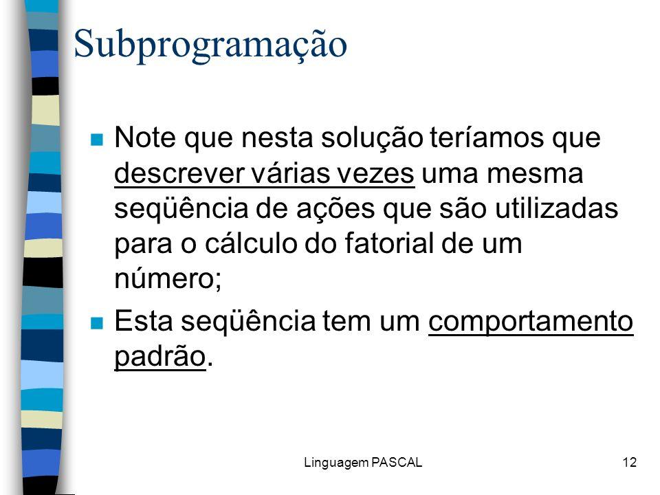 Linguagem PASCAL12 Subprogramação n Note que nesta solução teríamos que descrever várias vezes uma mesma seqüência de ações que são utilizadas para o