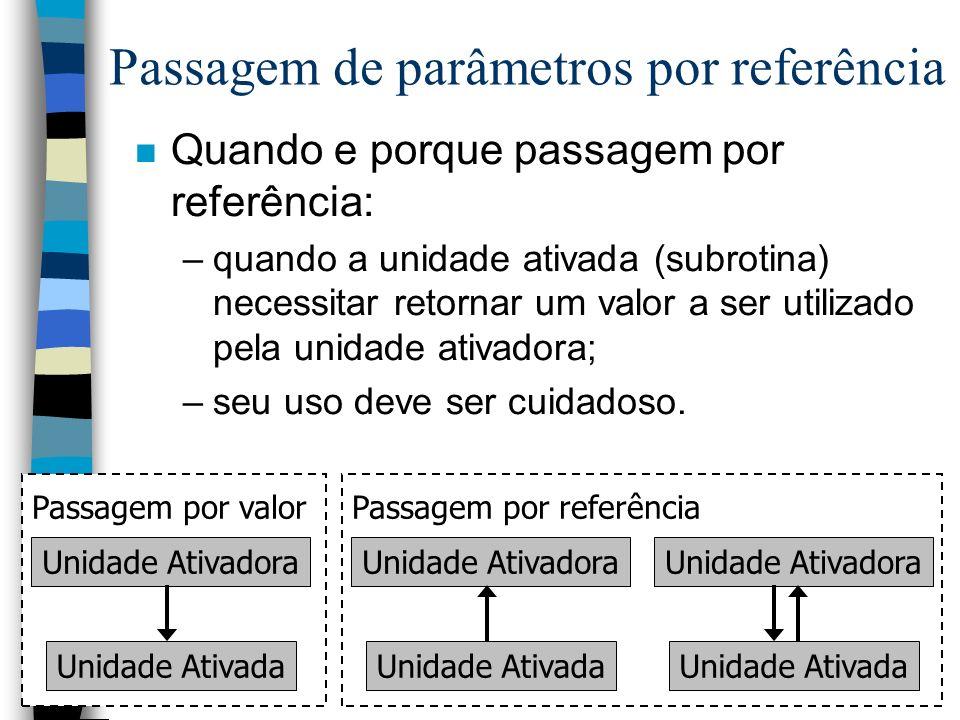 Linguagem PASCAL22 n Quando e porque passagem por referência: –quando a unidade ativada (subrotina) necessitar retornar um valor a ser utilizado pela