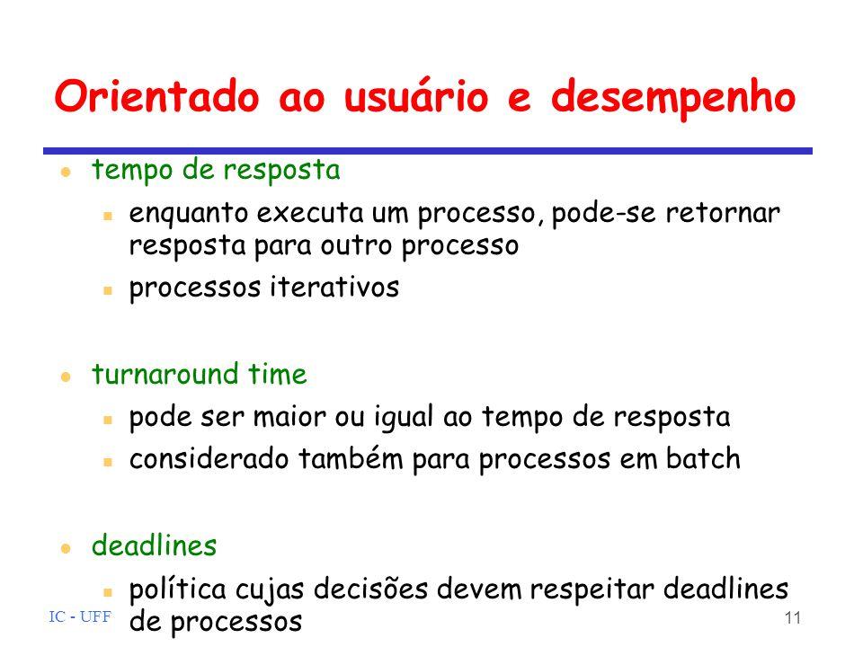 IC - UFF 11 Orientado ao usuário e desempenho tempo de resposta enquanto executa um processo, pode-se retornar resposta para outro processo processos iterativos turnaround time pode ser maior ou igual ao tempo de resposta considerado também para processos em batch deadlines política cujas decisões devem respeitar deadlines de processos