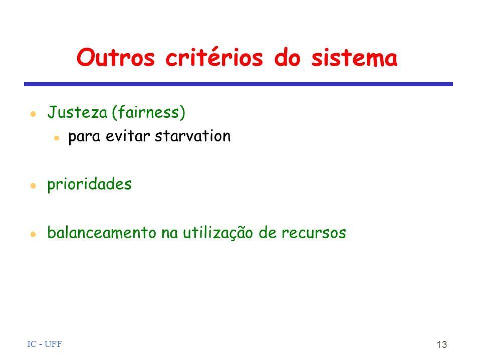IC - UFF 13 Outros critérios do sistema Justeza (fairness) para evitar starvation prioridades balanceamento na utilização de recursos