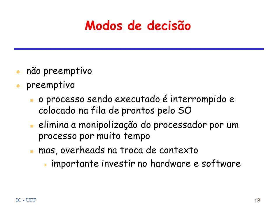 IC - UFF 18 Modos de decisão não preemptivo preemptivo o processo sendo executado é interrompido e colocado na fila de prontos pelo SO elimina a monipolização do processador por um processo por muito tempo mas, overheads na troca de contexto importante investir no hardware e software
