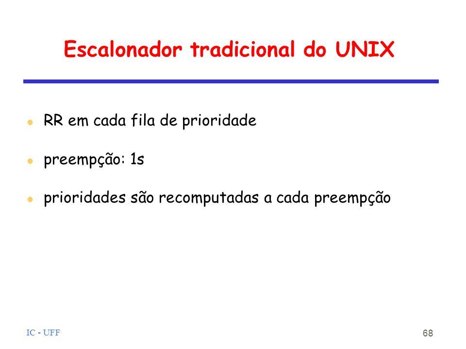 IC - UFF 68 Escalonador tradicional do UNIX RR em cada fila de prioridade preempção: 1s prioridades são recomputadas a cada preempção