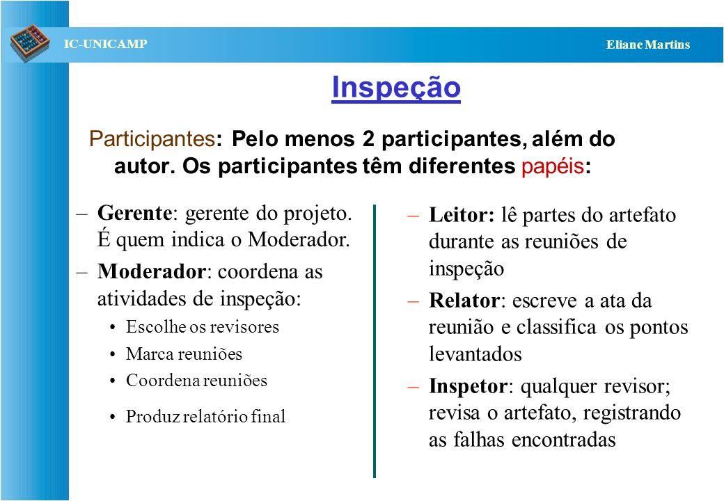 QST112 06/2001 IC-UNICAMP Eliane Martins Inspeção Participantes: Pelo menos 2 participantes, além do autor. Os participantes têm diferentes papéis: –L