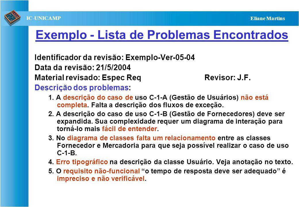 QST112 06/2001 IC-UNICAMP Eliane Martins Exemplo - Lista de Problemas Encontrados Identificador da revisão: Exemplo-Ver-05-04 Data da revisão: 21/5/20