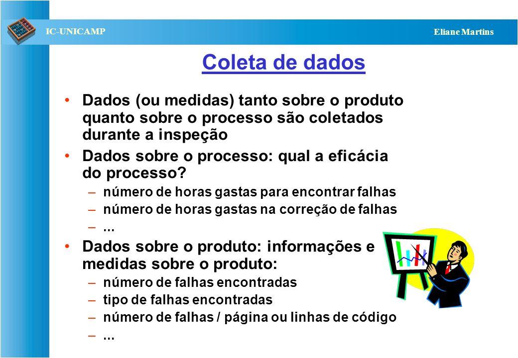 QST112 06/2001 IC-UNICAMP Eliane Martins Coleta de dados Dados (ou medidas) tanto sobre o produto quanto sobre o processo são coletados durante a insp