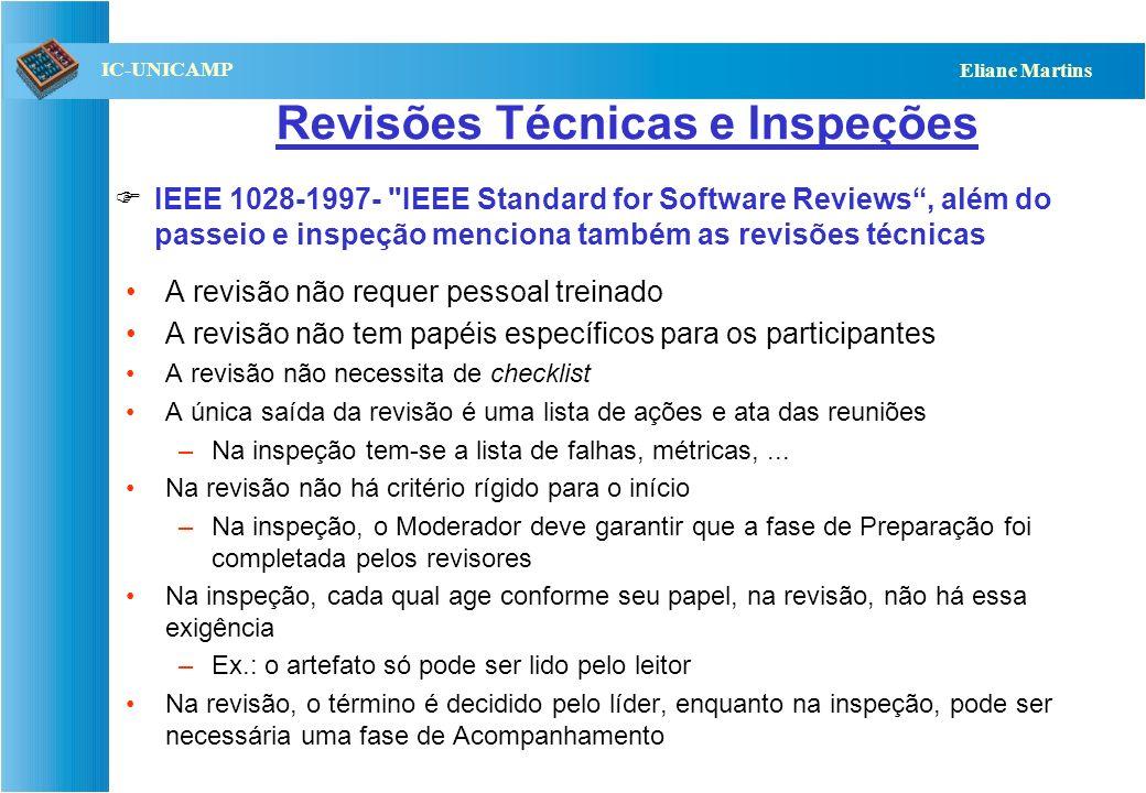QST112 06/2001 IC-UNICAMP Eliane Martins Revisões Técnicas e Inspeções A revisão não requer pessoal treinado A revisão não tem papéis específicos para