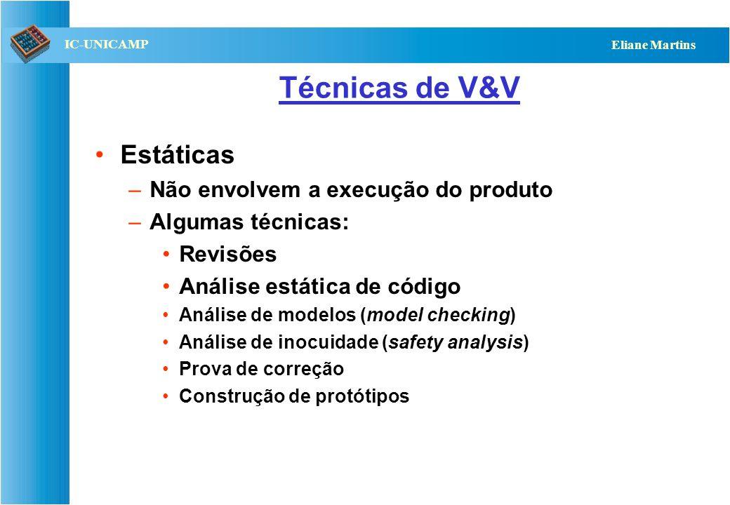 QST112 06/2001 IC-UNICAMP Eliane Martins Técnicas de V&V Estáticas –Não envolvem a execução do produto –Algumas técnicas: Revisões Análise estática de