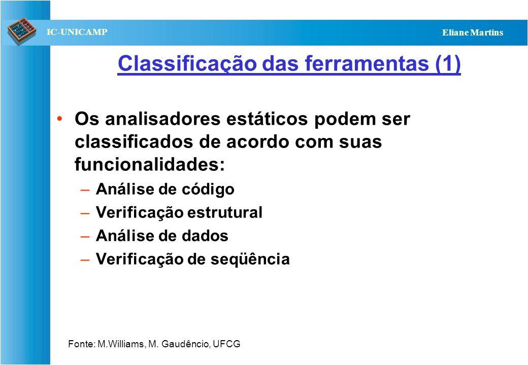 QST112 06/2001 IC-UNICAMP Eliane Martins Classificação das ferramentas (1) Os analisadores estáticos podem ser classificados de acordo com suas funcio