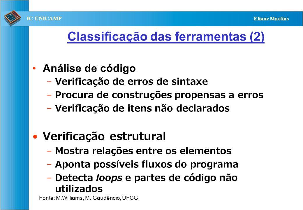 QST112 06/2001 IC-UNICAMP Eliane Martins Classificação das ferramentas (2) Análise de código –Verificação de erros de sintaxe –Procura de construções