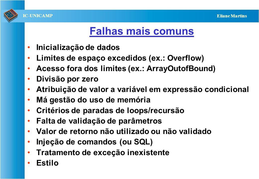 QST112 06/2001 IC-UNICAMP Eliane Martins Falhas mais comuns Inicialização de dados Limites de espaço excedidos (ex.: Overflow) Acesso fora dos limites