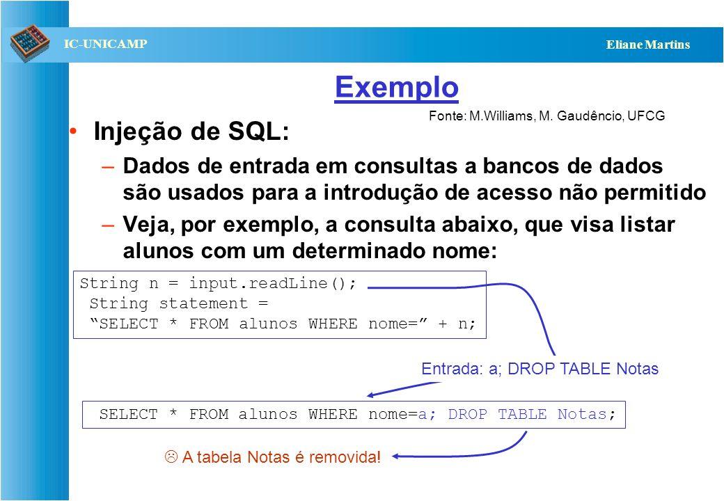 QST112 06/2001 IC-UNICAMP Eliane Martins Exemplo Injeção de SQL: –Dados de entrada em consultas a bancos de dados são usados para a introdução de aces