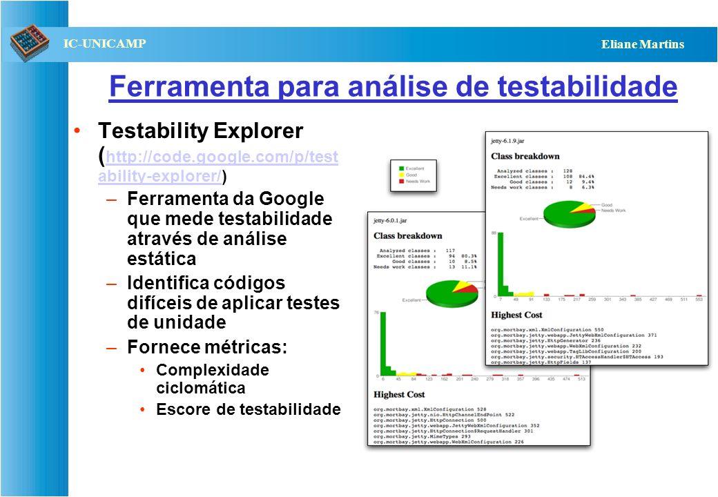 QST112 06/2001 IC-UNICAMP Eliane Martins Ferramenta para análise de testabilidade Testability Explorer ( http://code.google.com/p/test ability-explore