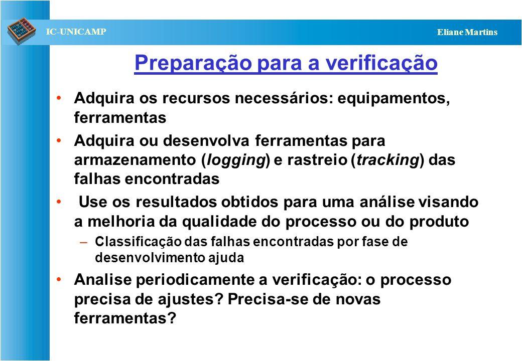 QST112 06/2001 IC-UNICAMP Eliane Martins Preparação para a verificação Adquira os recursos necessários: equipamentos, ferramentas Adquira ou desenvolv