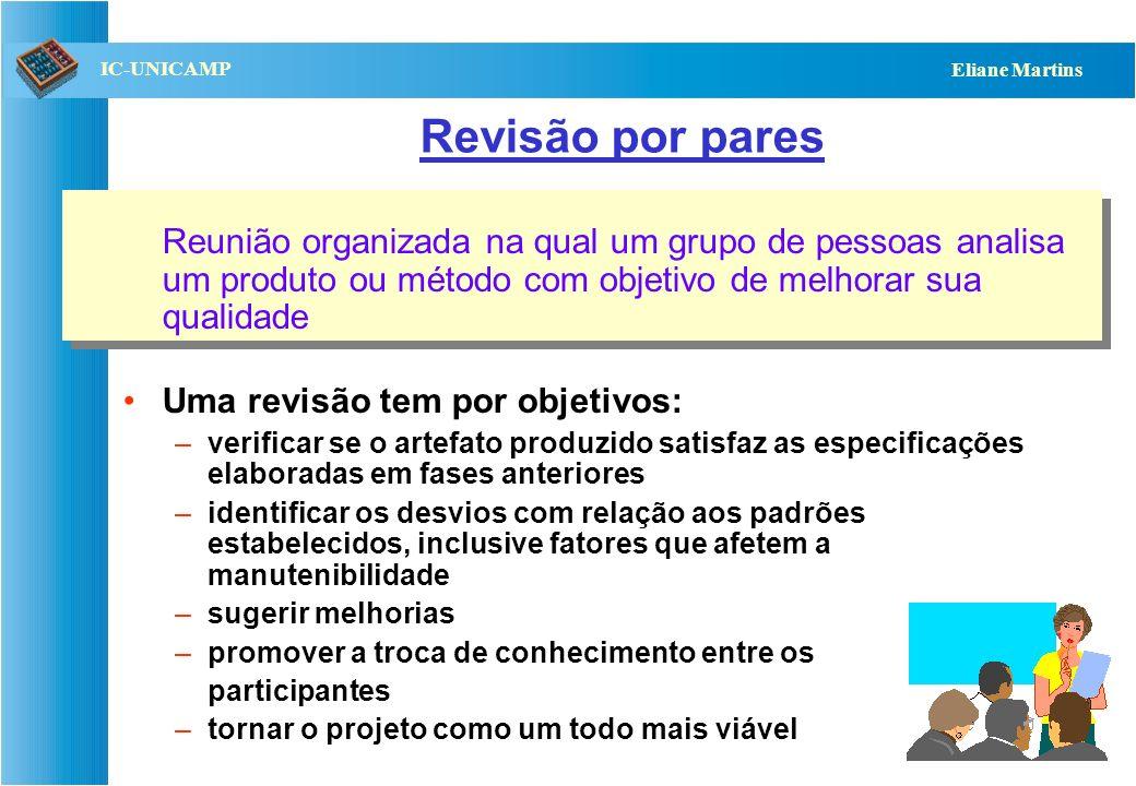 QST112 06/2001 IC-UNICAMP Eliane Martins Revisão por pares Reunião organizada na qual um grupo de pessoas analisa um produto ou método com objetivo de