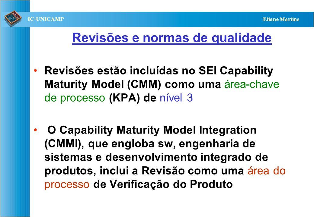 QST112 06/2001 IC-UNICAMP Eliane Martins Revisões e normas de qualidade Revisões estão incluídas no SEI Capability Maturity Model (CMM) como uma área-