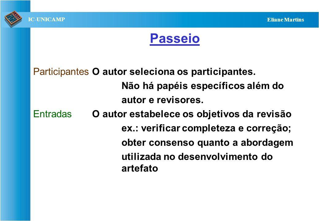QST112 06/2001 IC-UNICAMP Eliane Martins Passeio ParticipantesO autor seleciona os participantes. Não há papéis específicos além do autor e revisores.