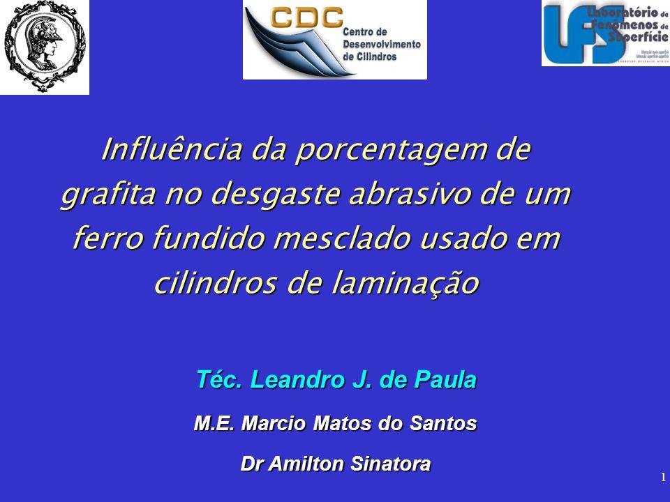 1 Influência da porcentagem de grafita no desgaste abrasivo de um ferro fundido mesclado usado em cilindros de laminação Téc. Leandro J. de Paula M.E.