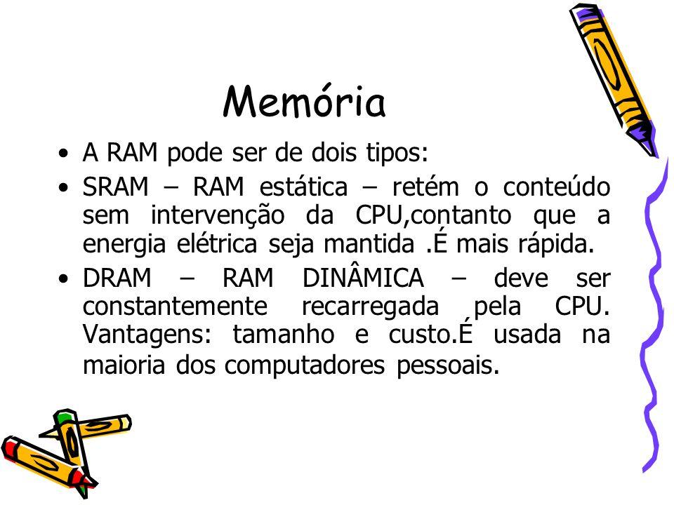 Memória A RAM pode ser de dois tipos: SRAM – RAM estática – retém o conteúdo sem intervenção da CPU,contanto que a energia elétrica seja mantida.É mai