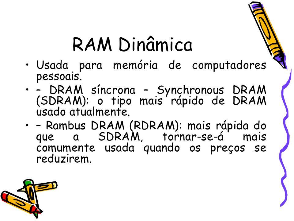 RAM Dinâmica Usada para memória de computadores pessoais. – DRAM síncrona – Synchronous DRAM (SDRAM): o tipo mais rápido de DRAM usado atualmente. – R