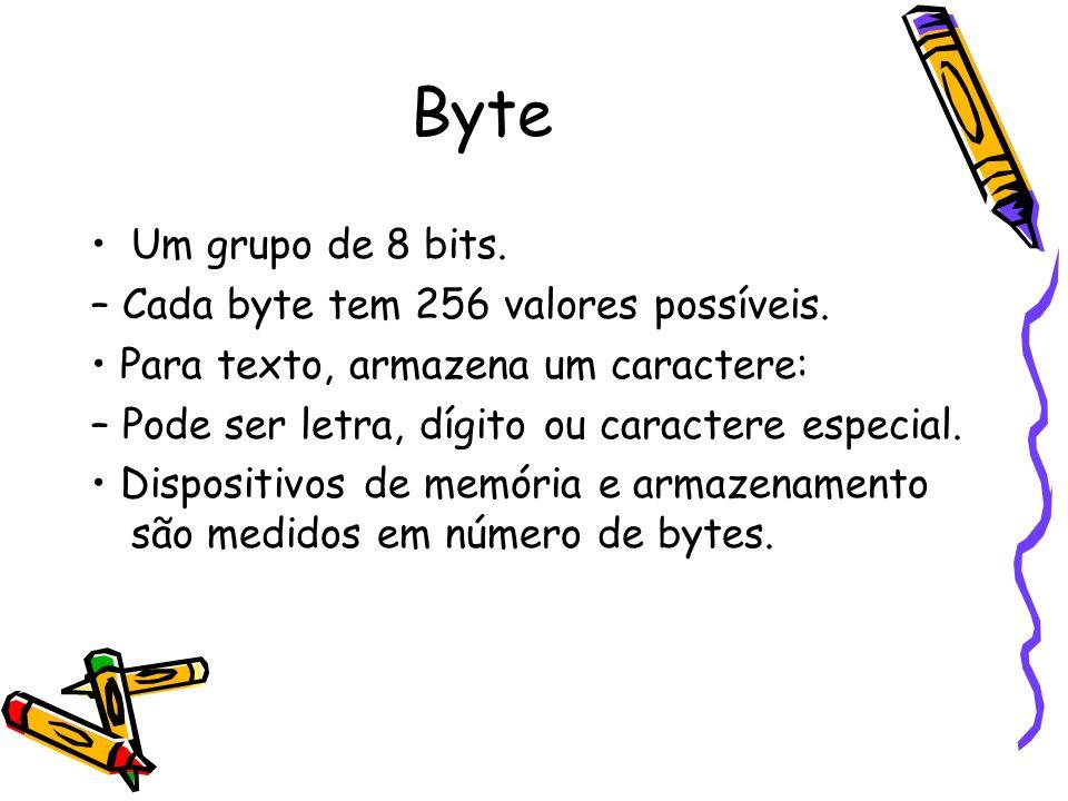Byte Um grupo de 8 bits. – Cada byte tem 256 valores possíveis. Para texto, armazena um caractere: – Pode ser letra, dígito ou caractere especial. Dis