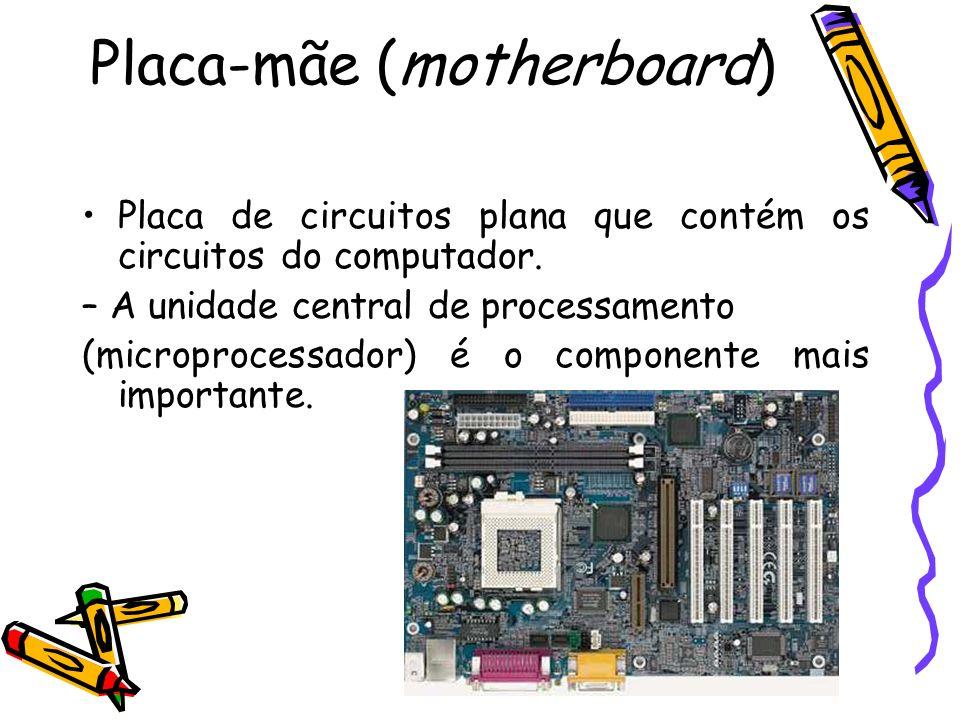 Placa-mãe (motherboard) Placa de circuitos plana que contém os circuitos do computador. – A unidade central de processamento (microprocessador) é o co
